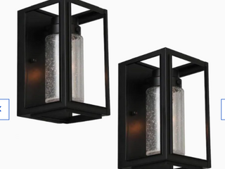 Allen   Roth 2 pack 8 25 in H Black Candelabra Base  e 12  Outdoor Wall light