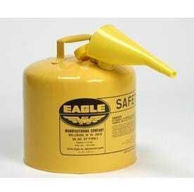 Eagle UI 50 FSY Yellow Galvanized Steel Type I Diesel Safety Can with Funnel  5 gallon Capacity  13 5  Height  12 5  Diameter