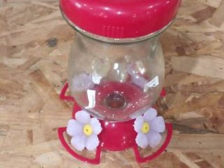 Red Floral Bird Feeder