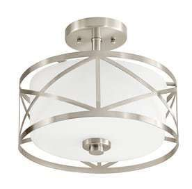 Kichler lighting Edenbrook 11 38 in W Brushed Nickel Frosted Glass Semi Flush Mount light