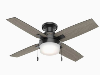 Hunter Port Haven 44  Matte Black Outdoor Ceiling Fan W  led light Kit