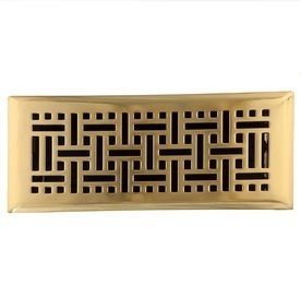 Accord AMFRPBB410 Floor Register with Wicker Design  4 Inch x 10 Inch Duct Opening Measurements  Polished Brass