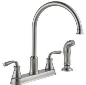 Delta lorain Stainless 2 Handle High Arc Kitchen Faucet with Side Spray