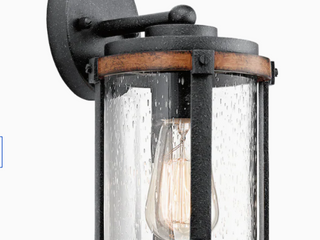 Kichler Barrington 10  H Distressed Black wood Medium Base Outdoor Wall light