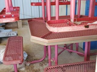 2  Red Outdoor Tables