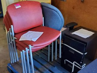 4  Red Chairs  1 Blue Chair  1 File Cabinet