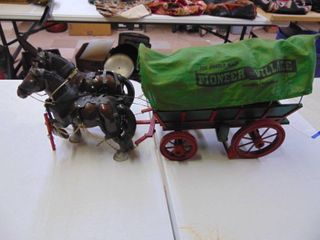 Pioneer Village Toy Wagon and Team