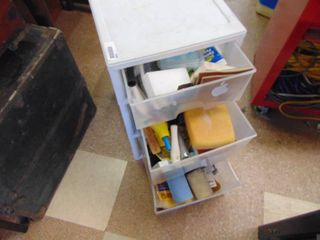 3 Drawer Plastic Cabinet with Contents