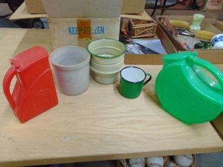 Enamel ware   Plastic water jugs and more