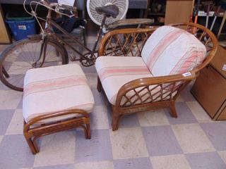 Wicker Chair and FootStool