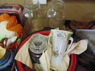 Enamel Pot   Fruit Jars and more