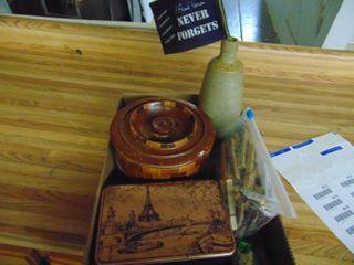 Wooden Box   tins and lancer vase