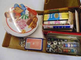 Miscellaneous tins with Sewing Notions