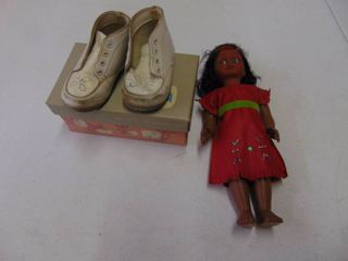 2 Pair of vintage Childrens shoes and Indian Doll