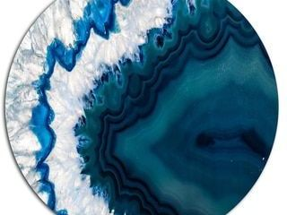 Strick   Bolton  Blue Brazilian Geode  Abstract Photography Metal Wall Art Print Retail 149 99