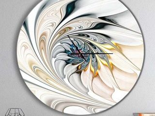 Designart White Stained Glass a flower Round Clock