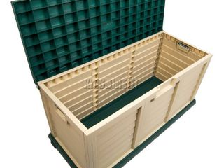 cushion box weatherproof no tools needed no rust lockable deck box 71 gallon