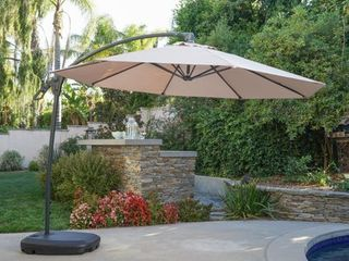 Siesta Outdoor 9 7 foot Canopy Umbrella with Base by Christopher Knight Home Retail 254 99