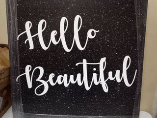 Oliver Gal  Hello Beautiful Black Glitter  Typography and Quotes Wall Art Canvas Print   White  Black  Retail 294 99