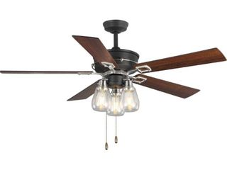 Teasley 56  Five Blade Ceiling Fan With Glass Shades  one glass shade broken