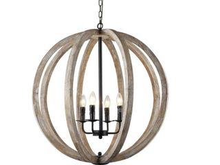 Y Decor Capoli 4 light Wooden Orb Chandelier in Neutral Finish Retail 352 53