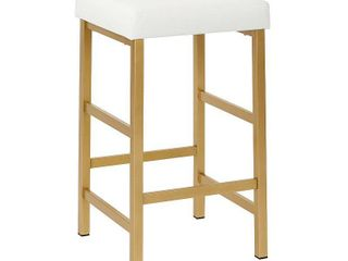 26  Gold Backless Counter Height Barstool White   OSP Home Furnishings