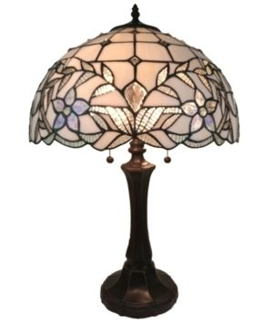 Tiffany Style Table lamp Jeweled 23  Tall Stained Glass White Night Stand Decor Bedroom Handmade Gift AM331Tl16 Amora lighting Retail 151 99