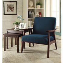 Ave Six Davis Chair  Klein Azure fabric with medium Espresso frame Mid century modern design arm chairSolid wood frame constructionEasy care fabric