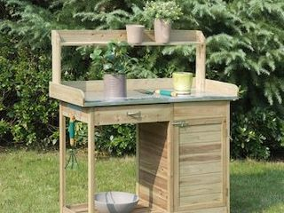 Convenience Concepts Planters and Potts Deluxe Potting Bench with Cabinet