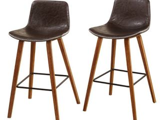 Set of 2 Wapoli Counter Height Barstools Brown   Buylateral