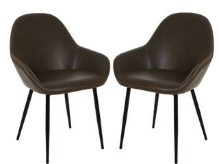 Glitzhome Set of 2 Vintage leatherette Dining Armchair Retail 234 99