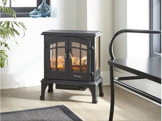 Jasper Free Standing Electric Fireplace Stove by e Flame USA   Black