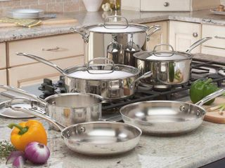 Cuisinart 77 10 Chef s Classic Stainless 10 Piece Cookware Set Retail 157 49
