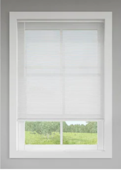 levolor 1 in Cordless White Vinyl Room Darkening Mini Blinds Cut To 29  X 64    Not Inspected