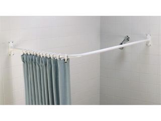 l Shaped Aluminum Shower Rod White   Zenna Home