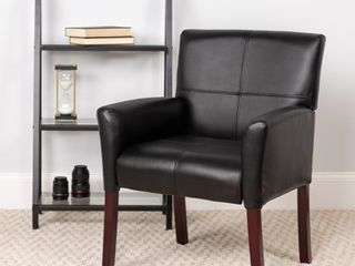 Flash Furniture Black leatherSoft Executive Side Reception Chair with Mahogany legs