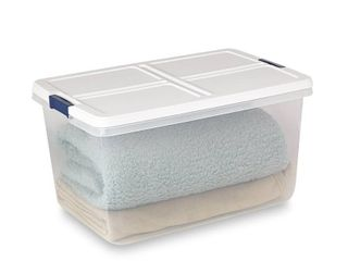 66 qt Hefty Clear latched Storage Bin  White Navy   No lid