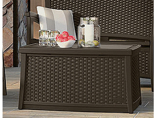 Suncast ElEMENTS Resin Patio Storage Coffee Table   Java