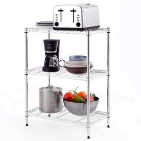 Style Selections 30 5 in H x 23 2 in W x 13 4 in D 3 Tier Steel Freestanding Shelving Unit  DAMAGED
