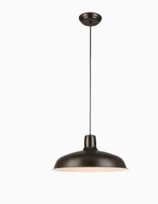 Kichler Matte Black And Aged Faux Wood Single Transitional Dome Pendant light   Not Inspected