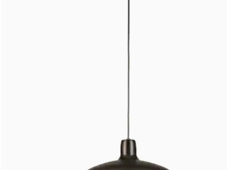 Kichler Matte Black And Aged Faux Wood Single Transitional Dome Pendant light