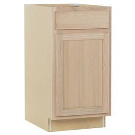Kitchen Classics 35 in x 18 in x 23 75 in Unfinished Oak Door and Drawer Base Cabinet  DAMAGED