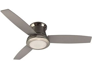 Harbor Breeze Sail Stream 52 in Brushed Nickel Flush Mount Indoor Ceiling Fan with light Kit and Remote  3 Blade  USED