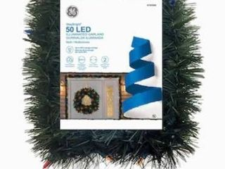 Ge 18 ft long Basic Pre lit Soft Pine Garland With 50 Warm White led lights