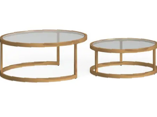 Silver Orchid Grant Glam Nesting Cocktail Table 2pc SetGold  Retail 245 99
