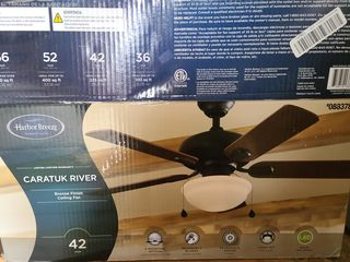 Harbor Breeze Caratuk River 42 in Oil Rubbed Bronze Indoor Fan With led light