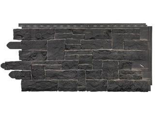 Novik Stacked Stone 45 in  x 20 1 4 in  Polymer Onyx Vinyl Siding  10 Pack  Black