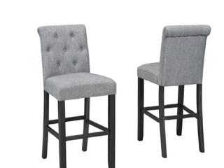 Soho tufted grey bar stools  set of 2