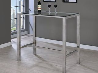 Coaster Bar Table in Chrome  Glass top
