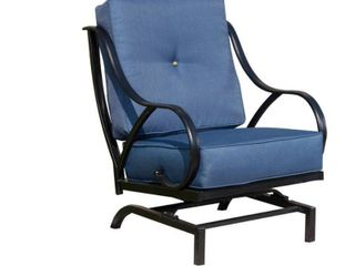 Metal Outdoor Rocking Chair with Blue Cushions